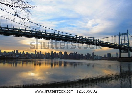 Beautiful view of the Triboro Bridge and Manahattan
