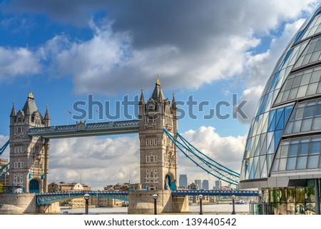 Beautiful view of Tower Bridge with surrounding Buildings - London.