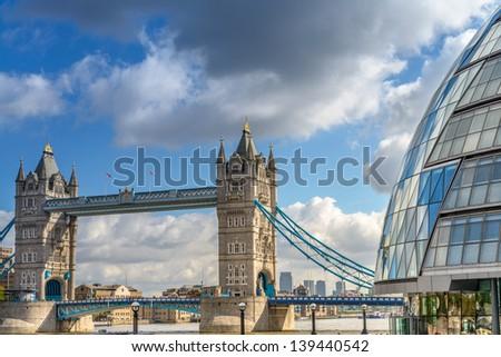 Beautiful view of Tower Bridge with surrounding Buildings - London. - stock photo