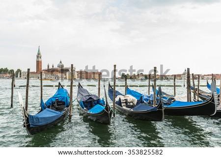 Beautiful view of traditional Gondolas San Marco, Venice, Italy - stock photo
