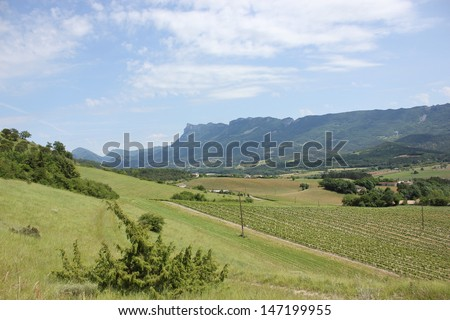 Beautiful view of Trois Becs Mounts in Drome Valley in south of France near Crest and Die, Mirabel et Blacons
