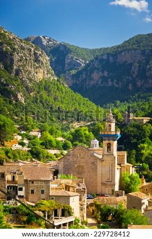 Beautiful view of Valldemossa city, Mallorca, Spain - stock photo