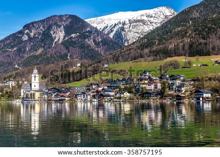 Beautiful view wolfgang lake st wolfgang stock photo 358757195 beautiful view of wolfgang lake with st wolfgang im salzkammergut and grosser hollkogel in the sciox Images