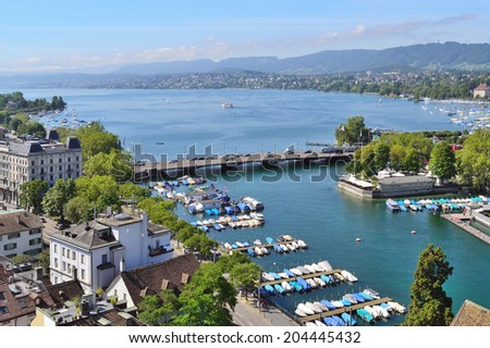 Beautiful view of Zurich lake in a sunny summer day