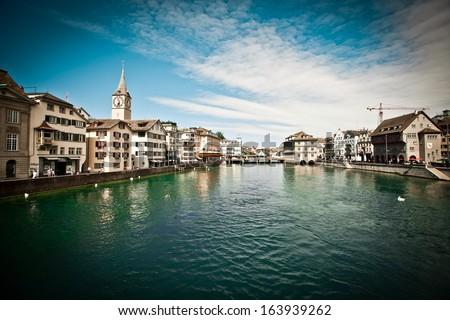 Beautiful view of Zurich, Switzerland - stock photo