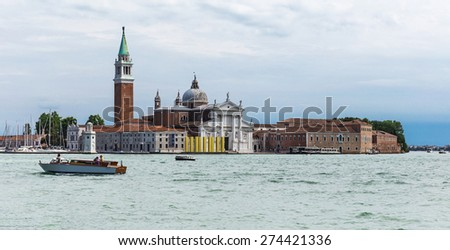 Beautiful view  on Canal Grande with San Giorgio Maggiore church in the background , San Marco, Venice, Italy - stock photo