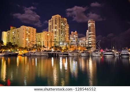 Beautiful view on the night Miami cityscape. - stock photo