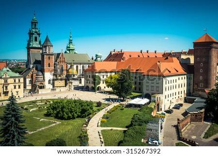 beautiful view on Wawel Castle in Krakow - stock photo