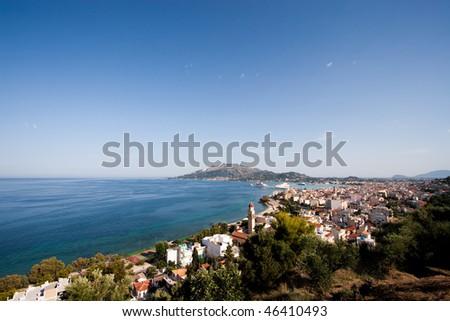 Beautiful view on Zakynthos port - stock photo