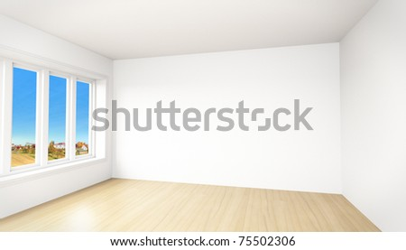 Beautiful view out of a modern unfurnished room - stock photo