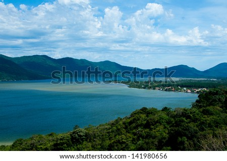 beautiful view over a lagoon - stock photo