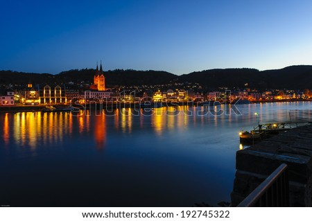 beautiful view over boppard/rhine at sunset/blue-hour
