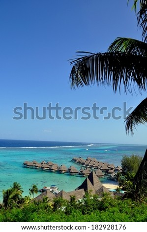 beautiful view over bungalow hotel in Moorea, french polynesia - stock photo