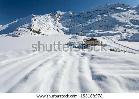 Beautiful view over mountains in the Swiss Alps. Titlis, Switzerland. - stock photo