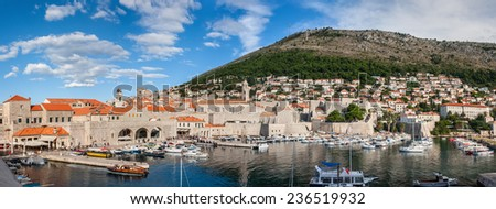 Beautiful view over the harbor of Dubrovnik's medieval centre. Croatia. - stock photo