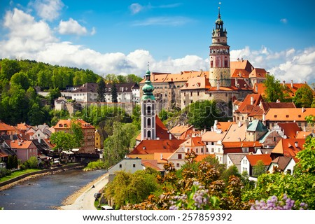 Beautiful view to church and castle in Cesky Krumlov, Czech republic - stock photo