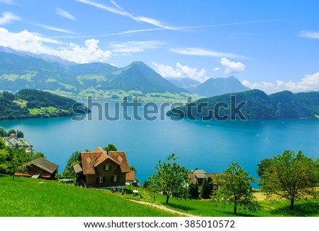 Beautiful view to Lake Lucerne (Vierwaldstattersee) and mountain Pilatus from Rigi, Swiss Alps - stock photo