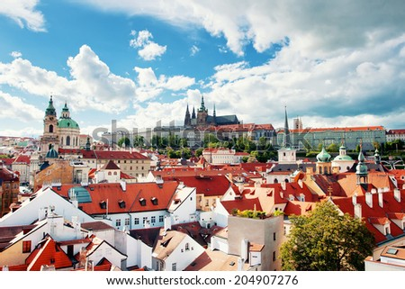 Beautiful view to Prague castle and St. Vitus cathedral, Prague, Czech republic - stock photo