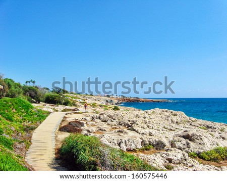 Beautiful view to sea coast with deep green grass and rich flora near the luxury hotel over blue bright sky, sunny day in Greece