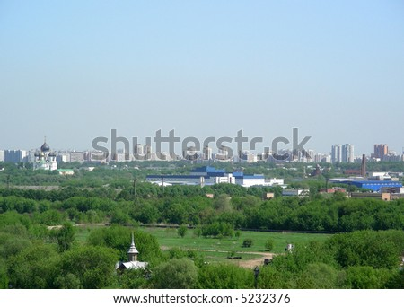 Beautiful view to suburb of Moscow from Kolomenskoe - stock photo