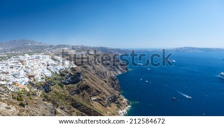 Beautiful View To The White Village of Fira In Santorini, Greece - stock photo