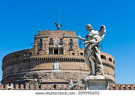beautiful view with castle st. Angelo. Rome