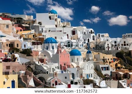 Beautiful views of Santorini - stock photo