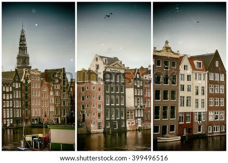 Beautiful views of the ancient buildings at the waterside and view of Oude Kerk (Old Church) from Damrak canal in Amsterdam, the Netherlands
