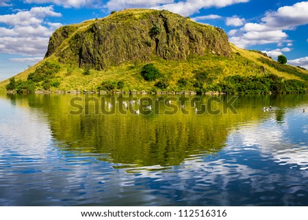 Beautiful views of the hill and lake in Scotland - stock photo