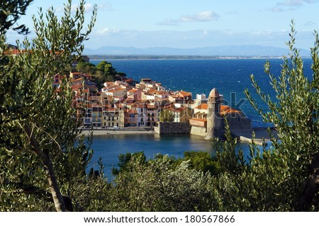 Beautiful village of Collioure on the coast of the Mediterranean sea in south of France, Roussillon, Pyrenees Orientales, Cote Vermeille - stock photo