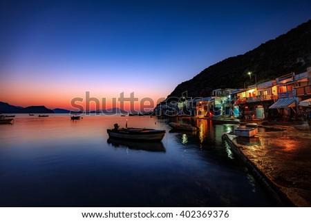 Beautiful village of Klima in Milos island, Greece, just after sunset - stock photo