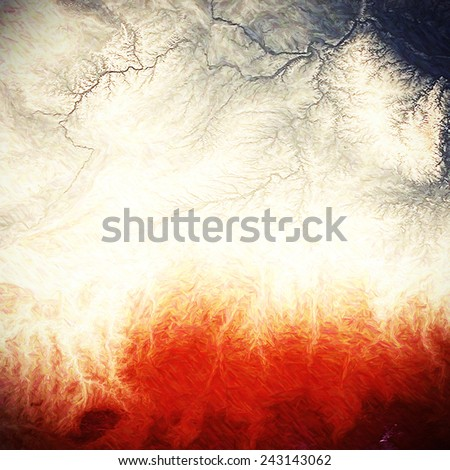 Beautiful vintage background. With different color patterns: blue; gray; red (orange); yellow (beige) - stock photo