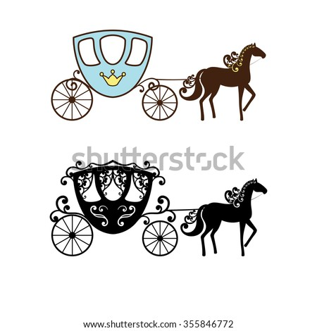 Beautiful vintage carriage silhouette with horse. Two different styles. Set collection. Raster illustration. Can use for birthday card, wedding invitations. - stock photo