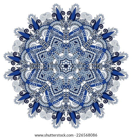 beautiful vintage circular pattern of arabesques, floral round, raster version - stock photo