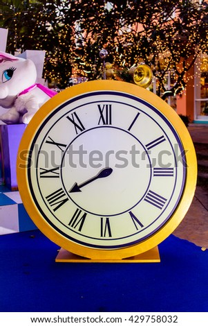 Beautiful vintage clock ,Clock made from  paper,a clock made with paper,Clock for stage decoration - stock photo