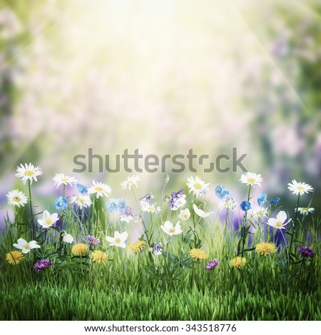 Beautiful vintage spring floral meadow with wild flowers - stock photo