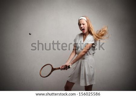 beautiful vintage tennis player - stock photo