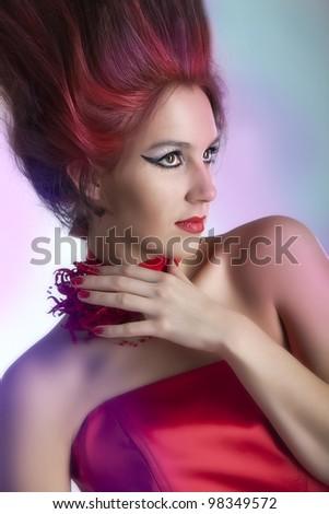 Beautiful vintage woman - stock photo