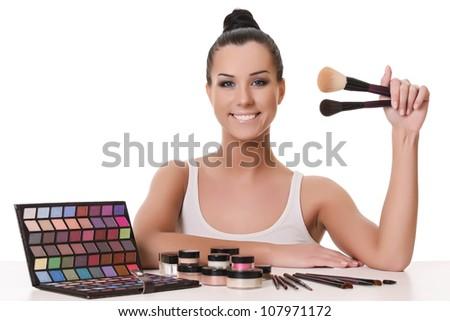 beautiful visagiste - stock photo