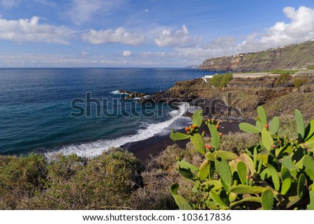 Beautiful volcanic Bollulo beach, Tenerife, Canary Islands - stock photo