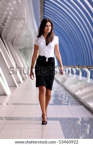 beautiful walking woman - stock photo