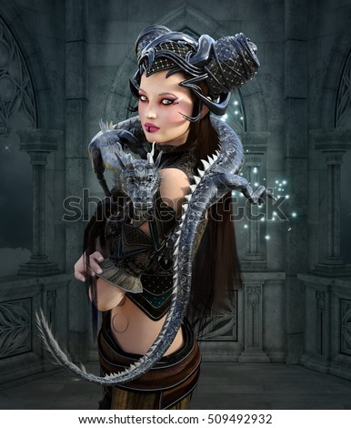 Beautiful warrior with dragon - 3D illustration
