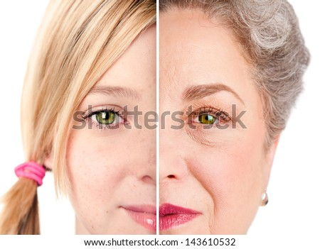 Beautiful watchful eye of a healthy girl and senior woman, ageing concept, isolated.