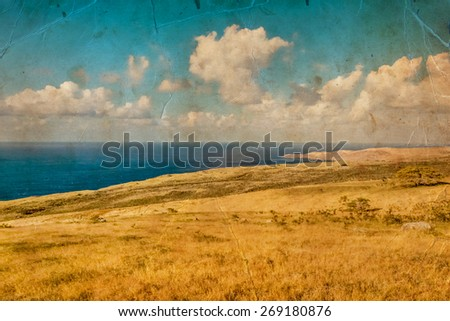 Beautiful water of the ocean and mountain background, summer beach on island Maui, Hawaii, clifs, grass and trees, rocks on the ocean shore - stock photo