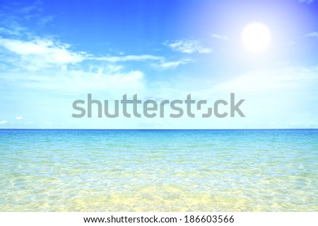 Beautiful water sea beach perfect on white sand turquoise