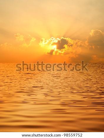 Beautiful water when sunset - stock photo