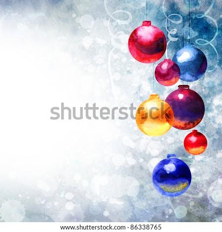Beautiful Watercolor Christmas background, painting handmade - stock photo