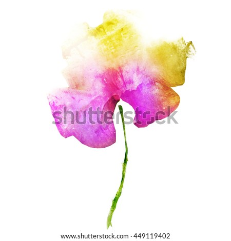Beautiful watercolor flower - stock photo
