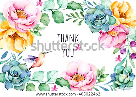 "Beautiful watercolor frame border ""Thank You"" with roses,flower,foliage,succulent plant,branches,hummingbird.Handpainted illustration.Can be used for greeting card,wedding,invitation,lettering etc - stock photo"