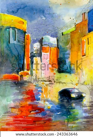 Beautiful watercolor painting poster oil colored acrylic illustration book artwork  - stock photo